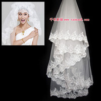 Wholesale Dresses Long Layers - Free Shipping In Stock Bridal Veils Lace Decoration Ultra long Wedding Dress Veil Train Wedding Dress Accessories