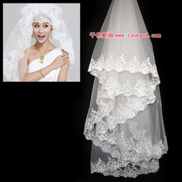 Wholesale Long Dress Lace Net - Free Shipping In Stock Bridal Veils Lace Decoration Ultra long Wedding Dress Veil Train Wedding Dress Accessories