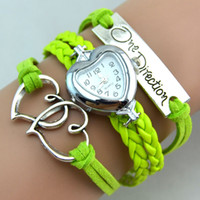 Moda One Direction Infinity Relojes Weave Bracelet Relojes Corazón a Corazón Relojes de Pulsera Relojes de cuarzo Corazón Mezclar Mezcla de colores