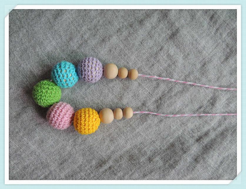 Hot Sale Rainbow Necklace Breast Feeding Teething statement jewelry crochet bead nursing necklace braid cord NW1850