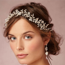 Wholesale Pearl Wax - Vintage Wax Flower Crowns Bridal Tiaras Delicate Forehead Wrap 1920s-inspired Adornment Hair Wedding Hand Hair Combs with Pearls Crystals