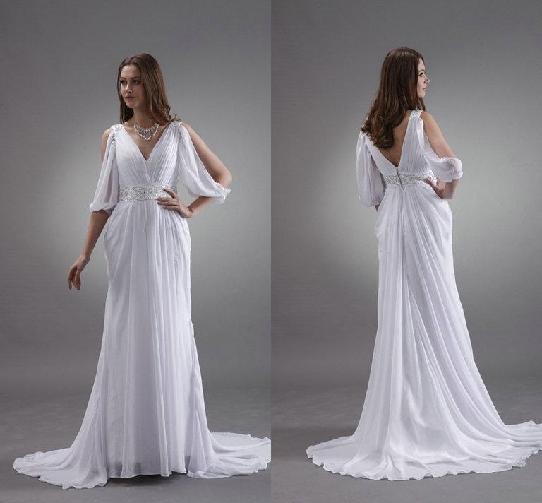2017 Sheath Wedding Dresses For Greek Goddess Simple: White Greek Sheath Goddess Beach Wedding Dresses 2016 Fall