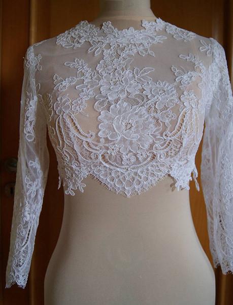 Long Sleeves Lace Bridal Jackets Jewel Neck Appliques Tulle White Ivory Short Bridal Bolero Jackets Wraps Real Image