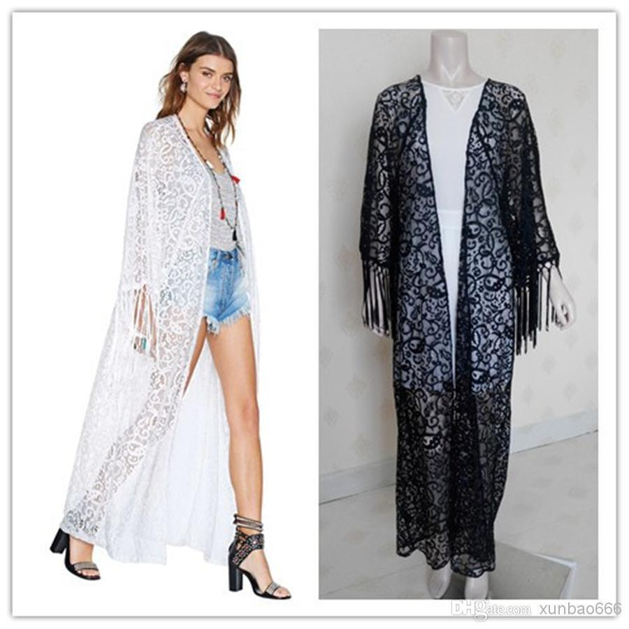 2018 Women Maxi Kimono Coat Long Sleeve Blusas Embroidered Shirt ...