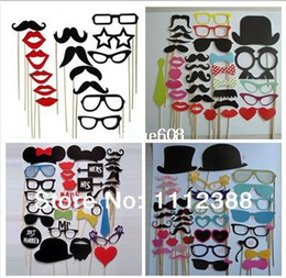 Wholesale Fun Favor - Wholesale Free Shipping 114pcs lot DIY Funny Photo Booth Props Hat Mustache Lip On A Stick Wedding Birthday party fun favor