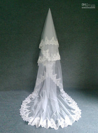"Wholesale Single Layer Veil Bridal Lace - In Stock Bridal Accessory 3M 120"" Single Layer Ivory  White Tulle High Quality Lace Veil Cathedral Train Wedding Veils Bridal Veils"