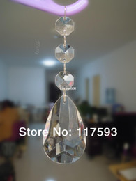 Wholesale Hotel Beads Decoration - 50PCS wedding hanging decoration clear faceted teardrop with octagon bead for Christmas tree hotel home decoration hanging craft
