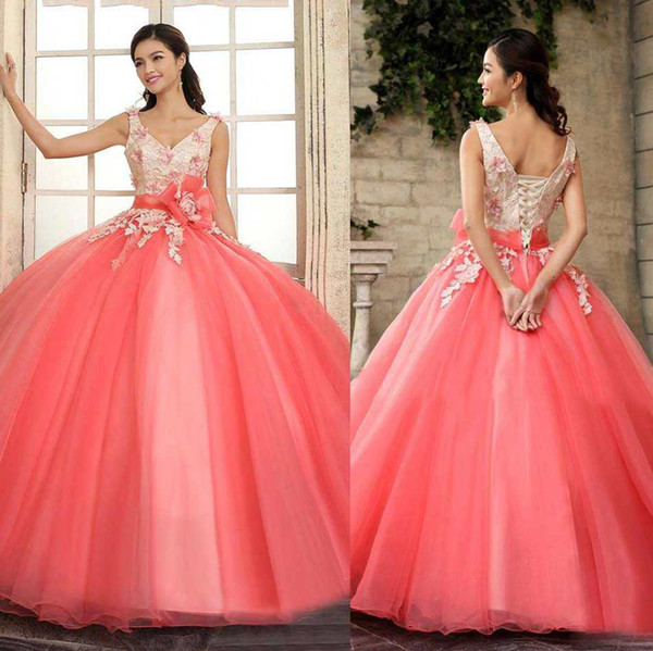 2019 Cheap Colorful Quinceanera Dresses Ball Gown Tulle Applique V-Neck Lace Up Sweep Train Girls 16th Prom Dress Gowns Custom Sash Elegant