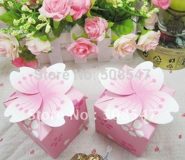 $enCountryForm.capitalKeyWord Canada - christmas candy box 100pcs pink cherry blossom Wedding Favor box Marriage Party Boxes gift box