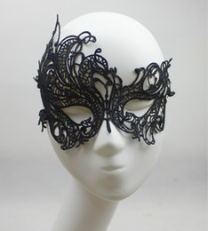 Wholesale Cheap Black Masquerade Masks - 2015 Lace Phoenix Party Mask Sexy Fashion Hollow Out Black Masquerade Mask Halloween Christmas Wedding Eye Blinder Cool Eye Patch 1PC Cheap