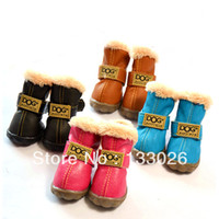 Wholesale Cat Dog Velvet Shoes - Wholesale-Colorful Pet Shoes Warm Velvet Thickening Dog Boots Dog Shoes Warm Winter for dogs cat Yorkshire Pitbull Free Shipping with Gift