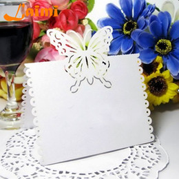 Wholesale Butterfly Card Decorations - Cut-out Butterfly Wedding Birthday Christmas Table Decoration Place Name Cards Party Favors Wedding Free Shipping