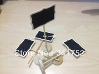 Wholesale Chalkboard Place Holder - 2013 Free Shipping 200 Mini chalkboards Blackboard on stick Place holder Table Number For Wedding Party Christmas Decorations