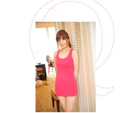 Wholesale Candy Color Vest Dress - Christmas gift Free shipping Hot Selling Fashion Sexy Women's Candy Color Vest Dress Long T-Shirt Sleeveless Tank Top Wholesale WBD8