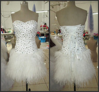 Wholesale Heavily Beaded Lace Gowns - Fashion Luxury Short Feather Cocktail Dresses 2014 with Sexy Bling Bling Heavily Crystal Sweetheart Neckline and Glamorous Sheath Prom Gowns
