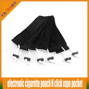 Wholesale 10pcs E cigarette pouch click N vape pocket eGo Carrying Bag ecigs String cord Sling Rope Round Corner Case black Bag pen bag pouch
