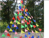 Wholesale Bunting String Flags - Free shipping 300flags Lot Wedding bunting Triangle flag decoration Supplies Festive Married string flag Christmas party flags
