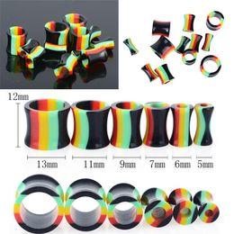 Wholesale Acrylic Saddle Plugs - 12PCS New Hot Fashion Unisex Acrylic Flare Hollow Saddle Ear Plugs Expander Earring Piercing Colorful Punk Jewelry Free BC117
