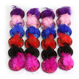 Wholesale Wholesale Top Hats - 24Pcs Lot Women Squin Headwear Rose Top Cap Feather Fashion Lace Hair Hat Clip Mini Hair Cap Clip Stylish Fascinator Costume Accessory