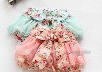 Wholesale Tutu Floral Short Big Bow - 2017 Summer Korean Baby Girls Toddlers Kids Floral Big Butterfly Bow knot Lace Gauze Bubble Skirt Kids Tutu Shorts Elastic Short Pant F0201