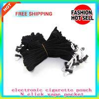 Wholesale E Cigarette Cord - 100PCS E cigarette eGo ce4 Carrying Bag String small black Pouch Pocket cord Sling Rope Round Corner Case pouch pen bag click N vape pocket