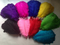 Wholesale Turquoise Lime Orange - Free shipping 100pcs lot 16-18inch(40-45cm) White Light Pink Yellow Orange Purple Royal blue Black Red Lime gree Turquoise Ostrich Feather
