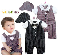 Wholesale Tuxedo Shirt Boys Wholesale - Autumn striped Baby clothes One-piece Romper tie with hat Boys' Shirts tuxedo Children's Bodysuits Coverall T08