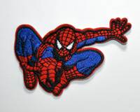 Wholesale Iron Applique Spiderman - Wholesale~High Quality Comic Movie Spiderman Embroidered Patch Iron On Applique Patch