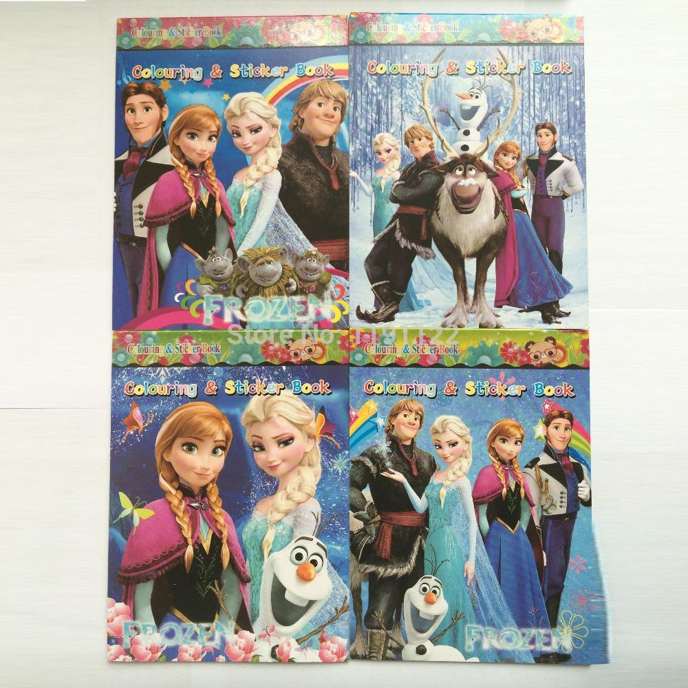 Of 12 Diy Educational Coloring Books Cartoon Frozen Stickers Party Supplies Favors Elsa Anna Send For Baby Gift From Super No1 985