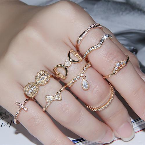 Rings fashion  Korean Version Of The Ring Tail Ring Fashion Ring Finger Ring ...