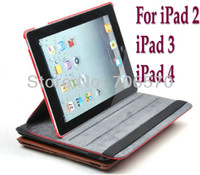 Wholesale Brown Ipad Cases - Smart Cover Tablet leather Case for ipad 2 3 4 360 Degrees Rotating Stand for ipad234 2016 new High Quality