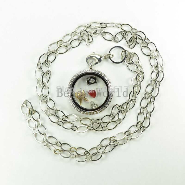 Free Shipping 1 Pcs Silver Tone Chain Necklace Origami Owl Floating Charms For Living Locket 84cm long(W03714 X 1)
