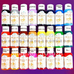 Wholesale gradient nail polish - Free Shipping - 24 Colours 30ml Nail Art Airbrush Paint Ink For Tip Airbrush Painting Design