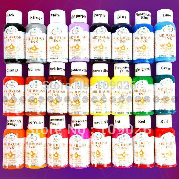 Бесплатная доставка - 24 цвета 30 мл краски для ногтей Аэрограф для дизайна наконечника аэрографа