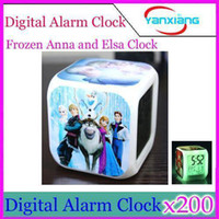 Wholesale DHL New LED Colors Change Digital Alarm Clock Frozen Anna and Elsa Thermometer Night Colorful Glowing Clock YX JJ