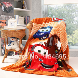 Wholesale Coral Fleece Bedspread - Wholesale-Car brother Cartoon baby coral fleece blankets infant quilt home sleeping quilt bedspread bed sheet,Free shipping