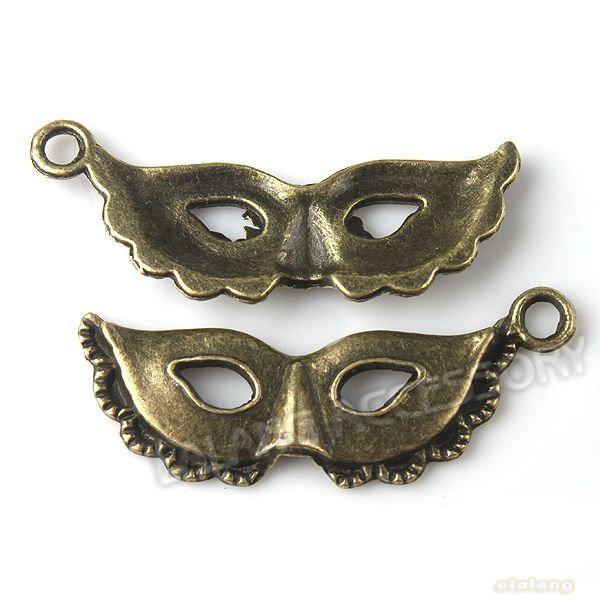 180pcs Fashion Bronze Mask Charms Zinc Alloy Pendants Jewelry Findings Fit Necklace Making 30*12*3mm140934