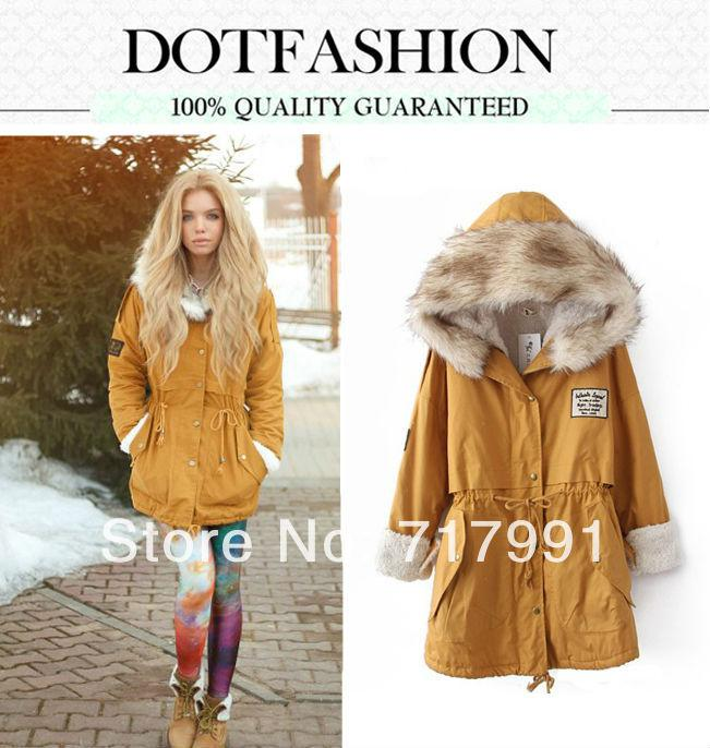 2018 2014 Spring/Fall Women Long Coat Parka Yellow Fur Hooded ...