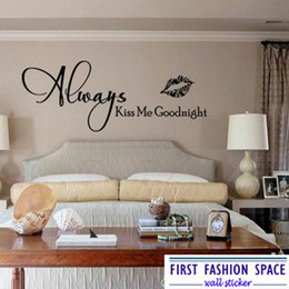 Wholesale Large Vinyl Wall Stickers - Wholesale-Always Kiss Me Goodnight Vinyl Wall Art Quote Wallpaper Wall Decal Stickers Bedroom Decor Free Shipping Large Size 58*159cm