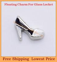 Wholesale Black Enamel Locket - Wholesale-2014 new style zinc alloy enamel white&black shoes floating charms for living glass memory glass lockets FC287