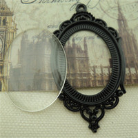 Wholesale Cameo Cabochon Black - DIY Jewelry Accessories Vintage Style Black Tone Oval Lace Bezel Glass Tile Cameo Cabochon Pendant Kit Pendant 5Sets
