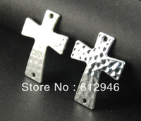 Wholesale Silver Bracelets Connectors - Wholesale-Free Shipping! 20pcs Sideways Cross Charms - Silver plated Large Hammered Cross Bracelet Charm Connector 29x50mm A550