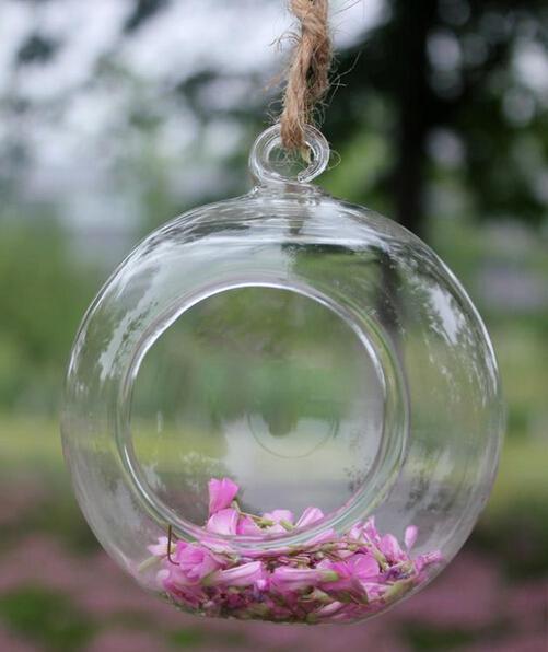 البورسليكات الزجاج شنقا إناء منضدية ديكور المنزل قطرها 8 سم شفافة