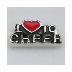 Wholesale Cheer Charms For Lockets - Wholesale-2015 Free shipping 20pcs lot MIN order 100pcs floating charms i love to cheer charms for locket