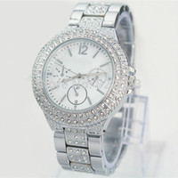 Wholesale Lady Dress Big Woman - Wholesale price New Model Fashion Women Watch With Diamond Stainless Steel Luxury Lady Big Wristwatch Famous Brand Wristwatch High Quality