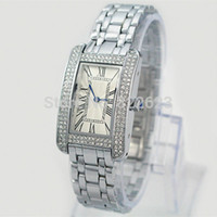 Wholesale Diamond Rectangle - Classic model Fashion top brand women wristwatch luxury female watch diamond square face watch Fashion high quality free drop shipping clock