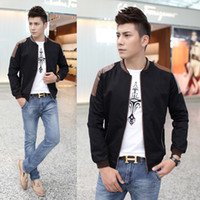 Wholesale Leather Sleeved Jackets Men - Free shipping2014 autumn new large size men 's leather jacket stitching Slim Korean men's fashion black long-sleeved jacket