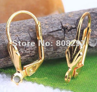 Wholesale Lever Back Wires - DIY Charm 18mm Copper France Gold Plated Hook Earrings Clip Lever Back Ear Wires Jewelry Finding 500pcs lot