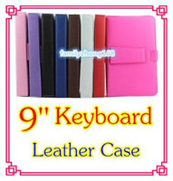 Wholesale China Blue Colour - 50PCS NEW colours USB Keyboard Leather Case For 9 inch Android Tablet pc Folding Leather Protective Case DD9-24