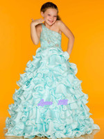 Wholesale Sugar Pageant Gowns - New 2014 beautiful sugar rhinestone bodice junior size pageant gown dress flower girl dresses